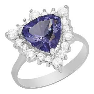 14k White Gold 2.70ct Tanzanite 0.67ct Diamond Ring
