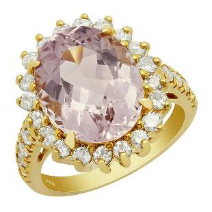 14k Yellow Gold 5.87ct Morganite 1.01ct Diamond Ring
