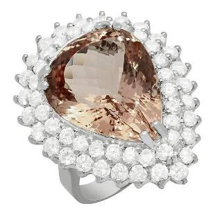14K Gold 12.42ct Morganite 2.69ct Diamond Ring