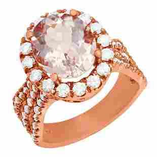14k Rose Gold 3.87ct Morganite 1.41ct Diamond Ring