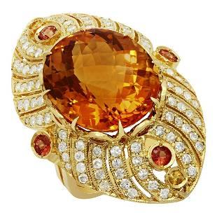 14k Yellow Gold 18.81ct Citrine 0.95ct Sapphire 1.59ct