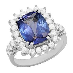 14k White Gold 4.10ct Tanzanite 1.09ct Diamond Ring