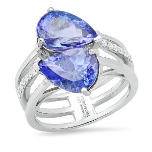 18K White Gold Setting with 6.53ct Tanzanite and 0.15ct