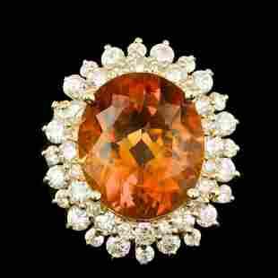 14K Yellow Gold 6.82ct Citrine and 1.77ct Diamond Ring