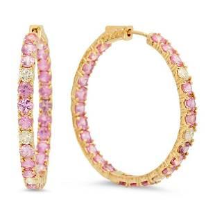 14K Gold 2.89ct Pink Sapphire 0.92cts Diamond Earrings