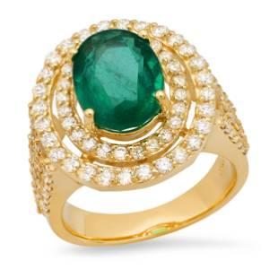 14K Yellow Gold 3.97ct Emerald and 1.83ct Diamond Ring