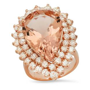 14K Rose Gold with 13.95ct Morganite and 2.36ct Diamond