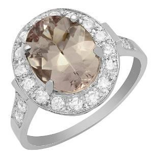 14k White Gold 2.68ct Morganite 0.56ct Diamond Ring