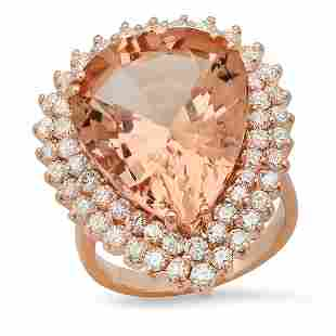 14K Rose Gold with 17.40ct Morganite and 2.36ct Diamond