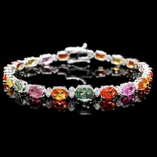 14K Gold 14.02ct Sapphire 0.79ct Diamond Bracelet