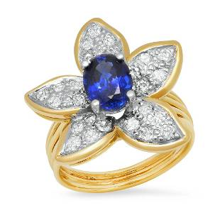 18K Yellow Gold Setting with 1.58ct Sapphire and 0.69ct