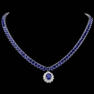14K White Gold 50.87ct Sapphire and 1.47ct Diamond