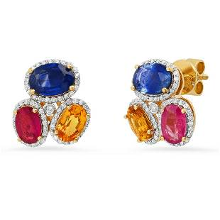14K Yellow Gold Setting with 4.06ct Sapphire and 0.34ct