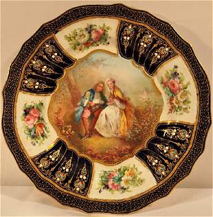 Sevres or Sevres Style Lapis Blue Jeweled Porcelain