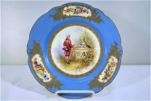 Sevres or Sevres Style Courting Scene Porcelain Cabinet
