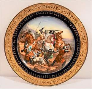 Sevres or Sevres Style Depicting Equistrian Battle
