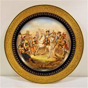 Sevres or Sevres Style Depicting Equistrian Battle of