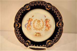 1846 Sevres or Sevres Style Chateau Des Tuileries Blue