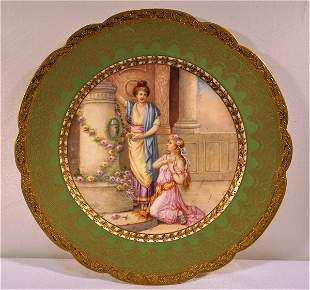 Sevres or Sevres Style 2 Women in The Garden Green