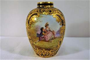 Sevres or Sevres Style Blue Lapis Bud Vase Courting