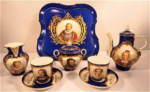 Sevres or Sevres Style Henry IV Tea Set,Tray 2 Cups &