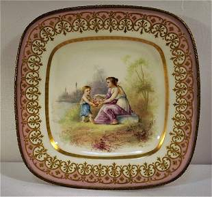 Sevres or Sevres Style Pink Bronzed Mounted Mother &