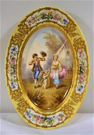 Sevres or Sevres Style Courting Scene with Cupid Oval