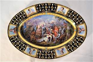 Sevres or Sevres Style Jeweled Battle Scene Blue Lapis,