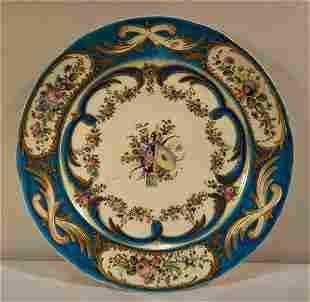 Sevres or Sevres Style Celestial Blue Floral/Archer's