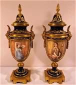 Sevres or Sevres Style Portrait Stopped & Lidded Urn