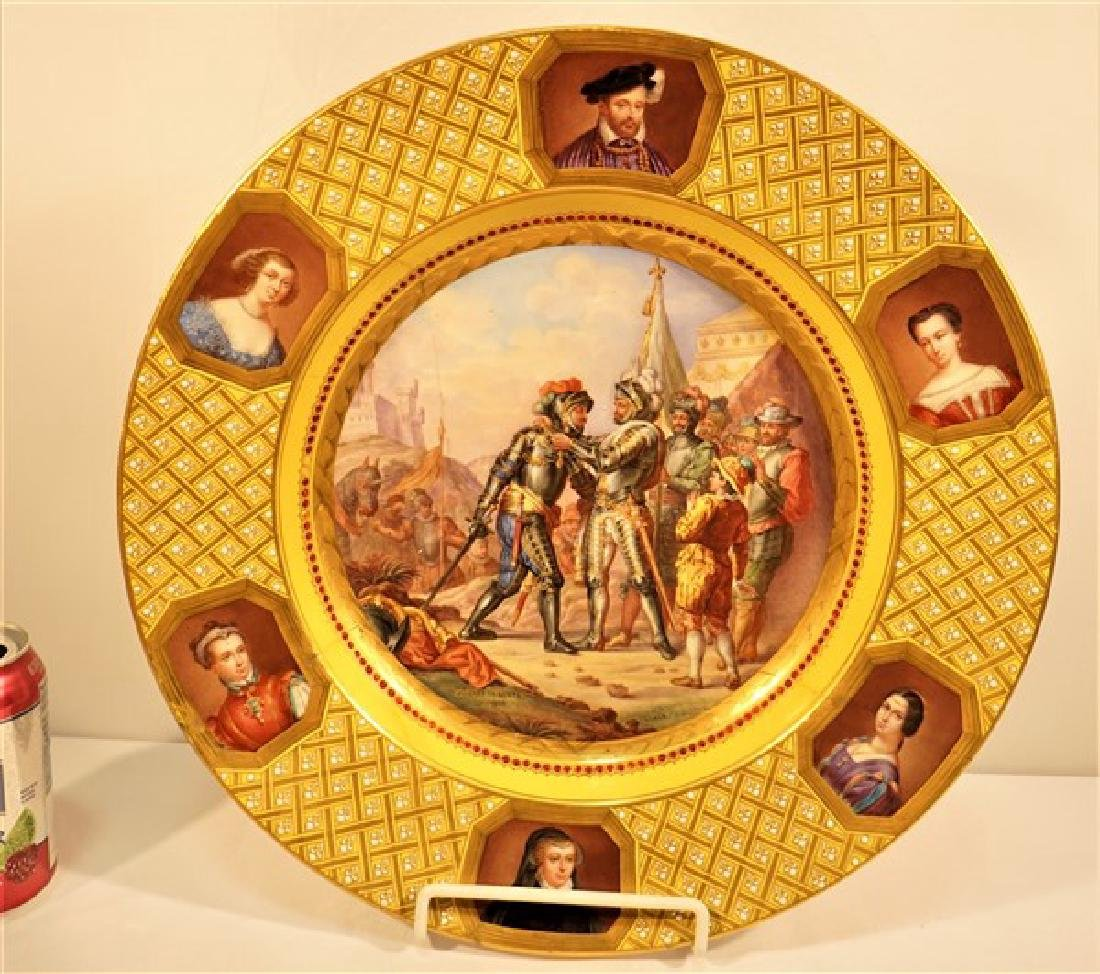 Sevres or Sevres Style Jeweled Battle scene Combat Le
