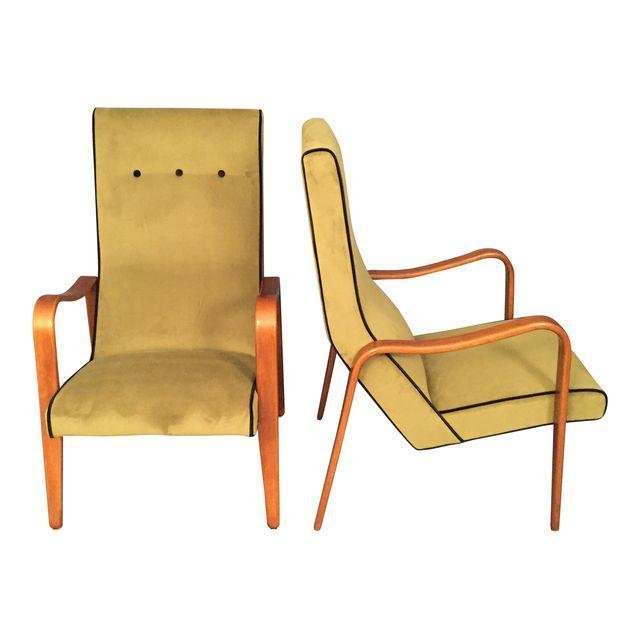 MID CENTURY MODERN Thonet Lounge Arms Chairs - A Pair