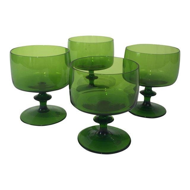 Mid Century Modern Green Wine Glasses set of 4