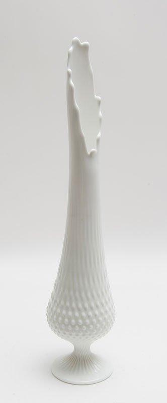 Mid Century Modern Signed Milk Glass Pedestal Vase