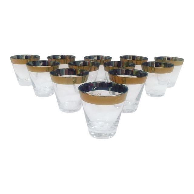 Roost Company Gold Trim Shot Glasses - Set of 12