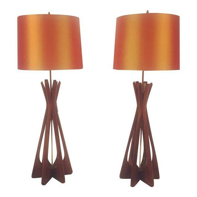 Mid-Century Adrian Pearsall Lamps Style- A Pair