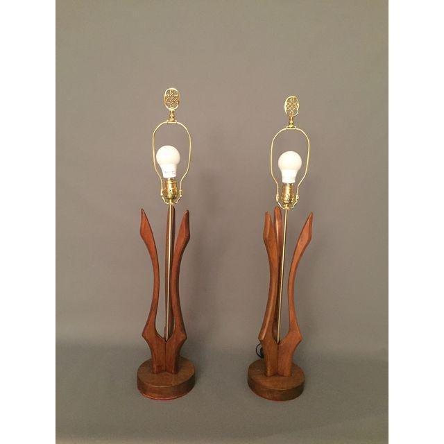 Adrian Pearsall style Mid-Century Teak Wood Lamps Pair