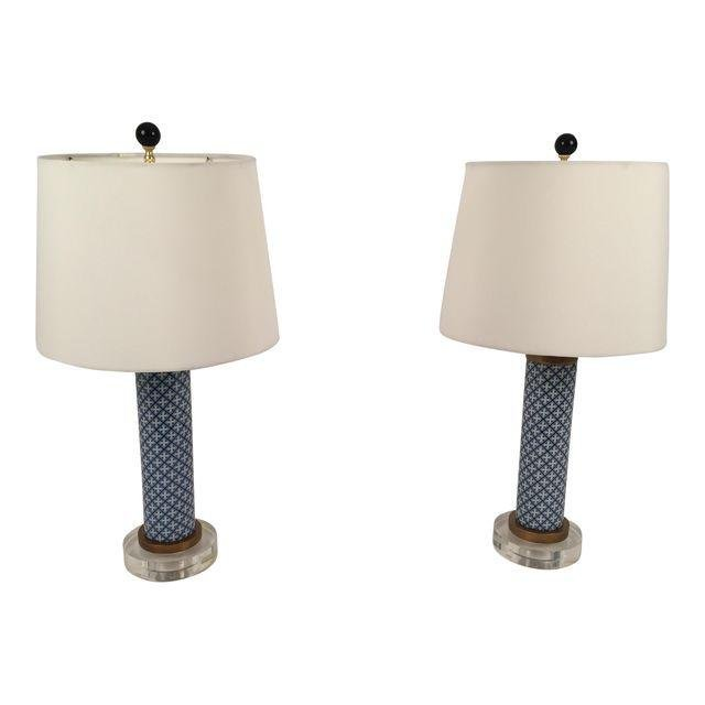Asian porcelain lucite table lamps a pair modern asian porcelain lucite table lamps a pair mozeypictures Choice Image