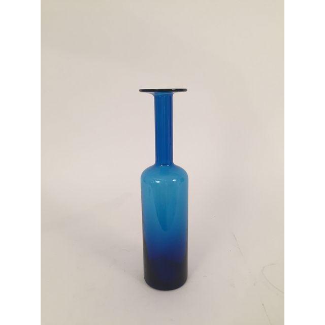 Mid-Century hand blown Blue Glass Vase - 4