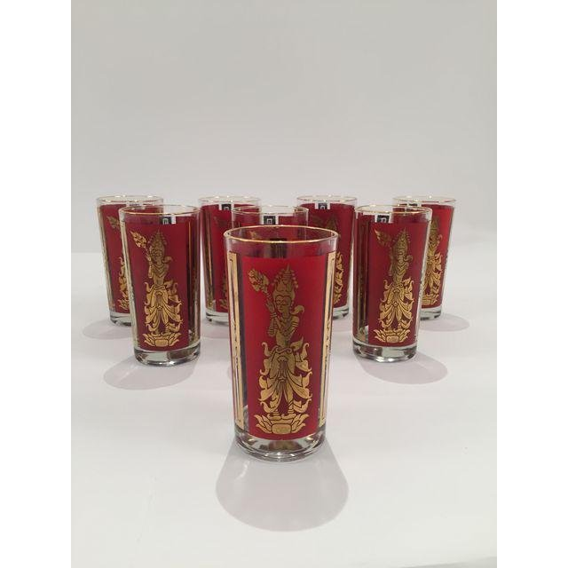 Mid-Century Red & Gold High Ball Glasses - Set of 8