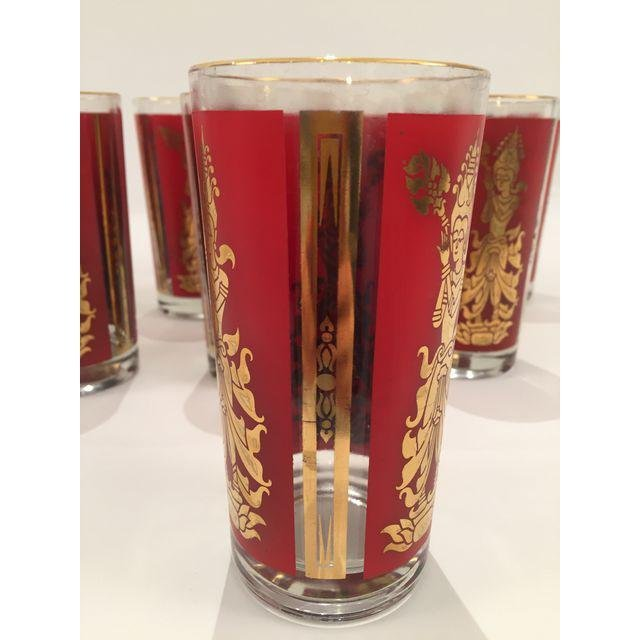 Mid-Century Red & Gold High Ball Glasses - Set of 8 - 3
