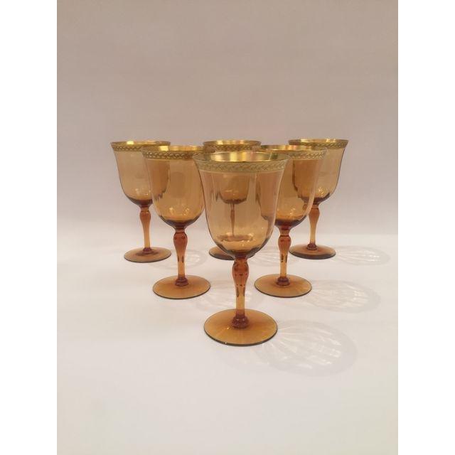 Venetian Amber Art Glass Gilt Wine Goblets  Set 6 - 3