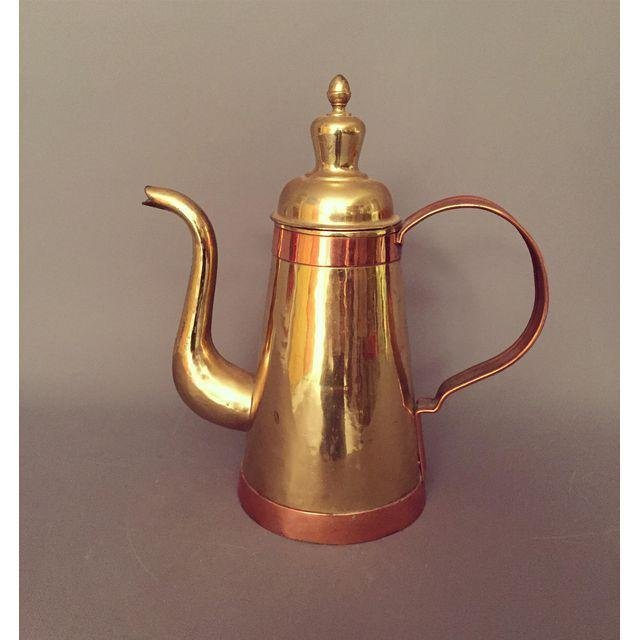 Mid-Century Vintage Gold Copper Coffee Pitcher