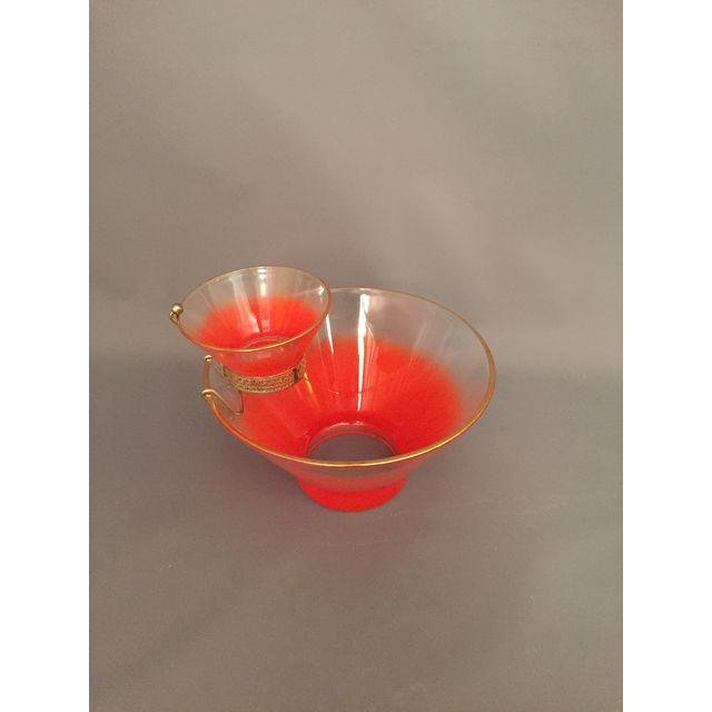 Mid-Century 1950s Orange Dip & Chip Bowl - 4