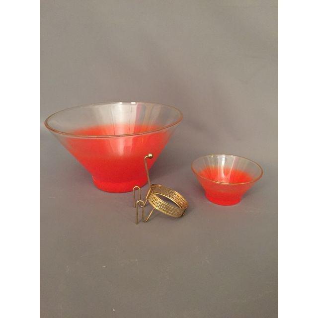 Mid-Century 1950s Orange Dip & Chip Bowl - 5