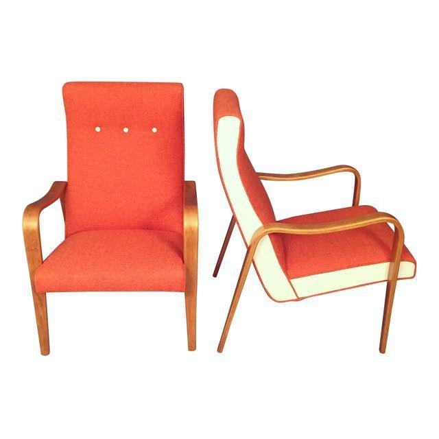 Mid-Century RESTORED Thonet Bentwood Lounge Chairs Pair