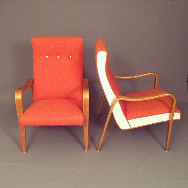 Mid-Century RESTORED Thonet Bentwood Lounge Chairs Pair - 3