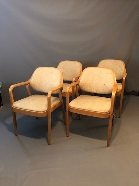 Mid-Century set of 4 Knolls chairs