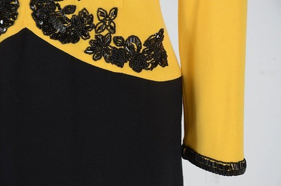 Adrienne Attadini yellow & Black dress M Size (Vintage) - 2
