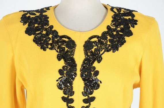 Adrienne Attadini yellow & Black dress M Size (Vintage) - 3